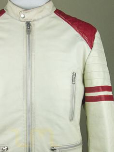 thumbnail for Vintage Cafe Racer Tall White Leather Biker Jacket