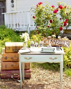"""See the """"The Guest Book Station"""" in our A Vintage DIY Rustic Wedding on a Ranch in California gallery"""