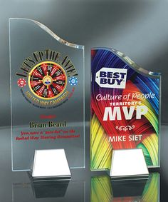 Acrylic awards with UV printing including white ink Acrylic Plaques, Acrylic Trophy, Glass Trophies, Modern Tv Wall, Crystal Awards, Acrylic Awards, Trophy Design, Display Advertising, Picture Design