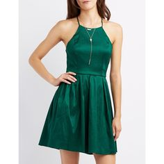 Charlotte Russe Bib Neck Open Back Skater Dress ($25) ❤ liked on Polyvore featuring dresses, emerald, open back skater dress, open back evening dress, skater dress, evening dresses and zipper dress