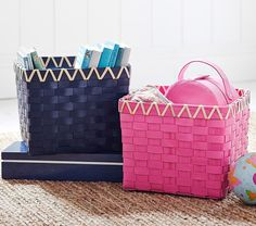 Navy & Pink Emory Basket // Perfect for corralling everything from toys and books to scarves and mittens.