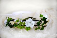 40% OFF - Spring White Rose Handmade Flower Crown, Ivory Woodlands Hair Wreath, Pastel Summer Headband on Etsy, $20.90