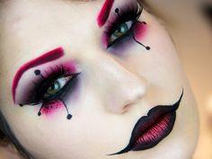 Maquillage Halloween Femmes - Halloween make-up Harley Quinn Halloween, Halloween Makeup Looks, Easy Halloween, Halloween Tutorial, Halloween 2015, Halloween Party, Pretty Halloween, Halloween Costumes, Jester Halloween