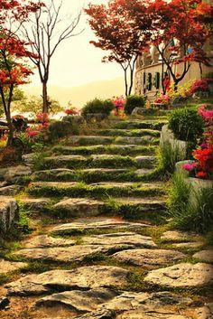 Stone Pathway, Bomunho Lake, South Korea - like the pathway idea for my own backyard.