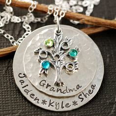 Hand Stamped Necklace - Personalized Jewelry - Tree of Life Jewelry - Grandma Necklace Grandmother Jewelry, Family Tree Necklace, Tree Of Life Jewelry, Hand Stamped Necklace, Diamond Solitaire Necklace, Cluster Necklace, Birthstone Necklace, Metal Jewelry, Gold Jewellery