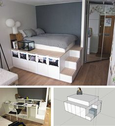 ikea bed build instruction The post Build your own bed: 12 unique DIY bed and bed frame ideas appeared first on Woman Casual - Home Inspiration Bed Frame Design, Diy Bed Frame, Bed Frames, Murphy Bed Ikea, Murphy Bed Plans, Elevated Bed, Space Saving Beds, Diy Bett, Ikea Bedroom