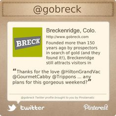Breckenridge, Colorado is on Twitter @gobreck's Twitter profile courtesy of @Pinstamatic (http://pinstamatic.com)