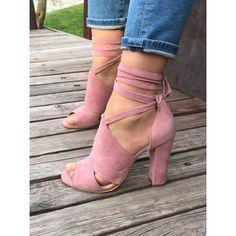 Dorris Pudra Süet Bilek Bağlamalı Topuklu Ayakkabı