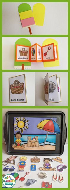Summer Vocabulary Activities - Use this resource with your preschool, Kindergarten, or 1st grade classroom or home school students. It's great for your vocabulary or speech therapy lessons. You get a craftivity, foldable, mini books, write the room worksheet, counting syllables, and an interactive vocabulary scene. Use this with your summer studies, unit, or lesson plans during the months of May, June, and July! {preK, K, first graders}