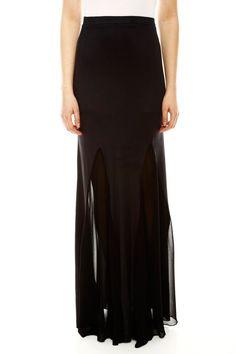 Sheer Maxi Skirt. Nice twist in classic straight black!