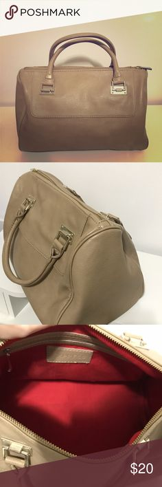 { Express } Nude Beige Speedy Handbag Pre-owned, like new | Express non-structured speedy style bag | Soft leather | Two handheld straps | Gold-tone hardware | Red interior lining with one interior zip pocket and two interior pouches Express Bags