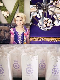Royal Tangled Princess Party // Hostess with the Mostess®  Girls birthday party ideas and inspiration-  invitations, decorations, favors, cupcakes, cakes, dessert table, candy buffet, printables