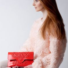 Non leather bag / vegan clutch purse / red vinyl clutch / guilt free handbag / for special occassions