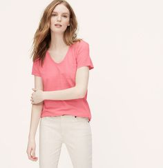 A forever favorite, we designed this soft cotton tee with a can't-resist broken in fit. Rounded V-neck. Short sleeves. Patch pocket. Shirttail hem.