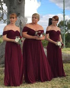 Elegant Off the Shoulder Chiffon Burgundy Long Bridesmaid Dresses,Plus Size Bridesmaid Gown Custom Burgundy Bridesmaid Dresses Long, Bridesmaid Dresses Plus Size, Burgundy Wedding, Plus Size Dresses, Bridal Dresses, Wedding Gowns, Prom Dresses, Raspberry Bridesmaid Dresses, Royal Blue Bridesmaids