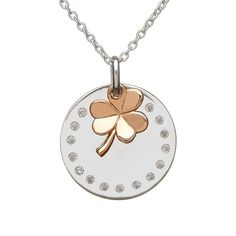 House Of Lor Sterling Silver/Rose Gold Hanging Shamrock Pendant & Chain Makers of the Authentic Claddagh Ring.