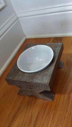 Small dog single raised dog bowl feeder, distressed, reclaimed, whitewashed, brown bowl