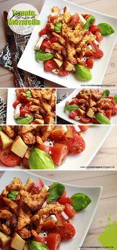 Tomaten - Pfirsich - Mozzarella Salat mit Hähnchenstreifen :)