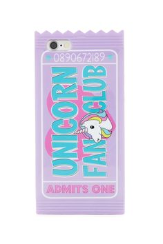 """A soft case for iPhone 6/6S® featuring a colorful """"Unicorn Fan Club"""" graphic in a wrapper design."""