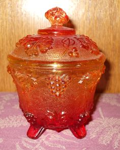 Amberina Candy Dish | ... for Allen Vintage Jeannette Glass Amberina Carnival Glass Candy Dish