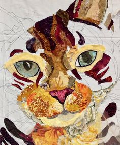 Susan Carlson Throwback Thursday: Choosing Your Subject for Fabric Collage Dog Quilts, Cat Quilt, Animal Quilts, Quilt Art, Thread Painting, Fabric Painting, Fabric Art, Scrap Fabric, Canvas Fabric