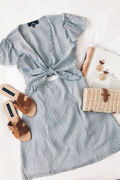 Seaport Navy Blue and White Striped Tie-Front Dress Casual Outfits, Cute Outfits, Fashion Outfits, Womens Fashion, Fashion Trends, Ootd Fashion, Disney Fashion, Ladies Fashion, Fashion Boots