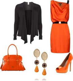 A fashion look from March 2013 featuring orange mini dress, black chiffon top and peep toe platform pumps.