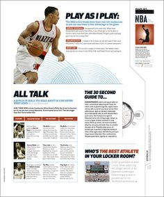 ESPN magazine redesign Notice the fine point tool line that separates elements.