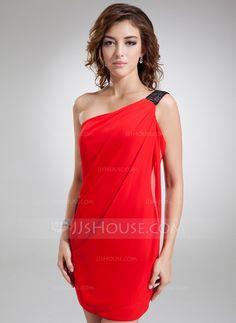 Sheath/Column One-Shoulder Short/Mini Chiffon Cocktail Dress With Sash (016008881)