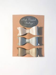 Leather Hair Bows - Unique Baby Bow 3 Pack - Pink Gold and Silver Bows for Baby and Toddler - Headband and Clips by ItzBowTime on Etsy https://www.etsy.com/listing/594788975/leather-hair-bows-unique-baby-bow-3-pack