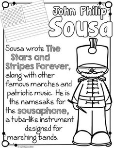 6 coloring pages & 6 fact sheets for 6 fabulous American composers! Music Classroom, Music Teachers, History Classroom, Autism Classroom, Piano Lessons, Music Lessons, Music Worksheets, Homeschool Worksheets, Homeschooling