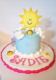 You are my sunshine birthday smash cake. Buttercream clouds, fondant bumblebees and flowers, gumpaste sunshine. Happy Birthday Daddy, Little Girl Birthday, First Birthday Cakes, 2nd Birthday, Birthday Ideas, Sunshine Birthday Cakes, Buttercream Cake Designs, Cloud Cake, Smash Cakes