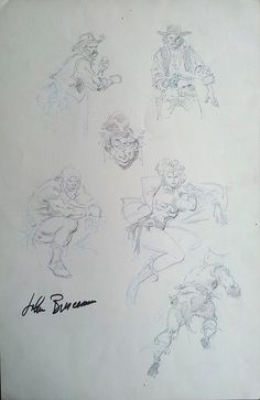 John Buscema Double Sided Page Of Drawings Comic Art