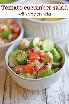 This crisp Vegan Feta Cheese, Feta Cheese Recipes, Salad Recipes, Vegan Dinner Recipes, Vegan Dinners, Israeli Couscous Salad, Veggie Wraps, Summer Side Dishes, Cucumber Salad