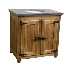 Reclaimed Pine Single Bath Vanity Natural Finish Natural Asian Blue Stone Top Under-Mounted Porcelain Sink Single Pre-Drilled Faucet Hole 36 W x 23D x 36H