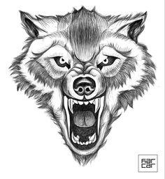 Wolf by Caroline Slobodyanik Head Tattoos, Wolf Tattoos, Indian Headdress Tattoo, Wolf Tattoo Back, Knee Tattoo, Logo Desing, Wolf Tattoo Design, Caricature Drawing, Wolf Moon