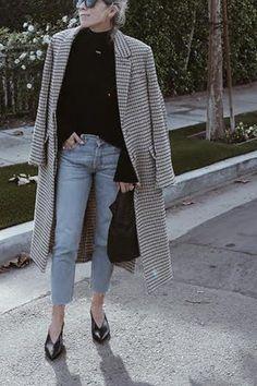 jeans black sweater grey coat