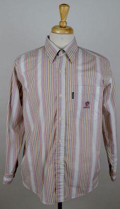 men's Versace Jeans Couture multi-color striped LS button down Medium shirt used #VersaceJeansCouture #ButtonFront