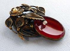Vintage Art Nouveau Leaf Fur Clip Dress Clip by thejewelseeker, $34.00