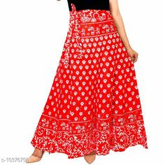 Skirts Women Cotton Casual Red Long Wrap Around Skirt Fabric: Cotton Pattern: Printed Multipack: 1 Sizes:  Free Size 26 (Waist Size: 26 in, Length Size: 40 in, Hip Size: 32 in)  28 (Waist Size: 28 in, Length Size: 40 in, Hip Size: 34 in)  30 (Waist Size: 30 in, Length Size: 40 in, Hip Size: 36 in)  32 (Waist Size: 32 in, Length Size: 40 in, Hip Size: 38 in)  34 (Waist Size: 34 in, Length Size: 40 in, Hip Size: 40 in)  36 (Waist Size: 36 in, Length Size: 40 in, Hip Size: 42 in)  38 (Waist Size: 38 in, Length Size: 40 in, Hip Size: 44 in)  40 (Waist Size: 40 in, Length Size: 40 in, Hip Size: 46 in)  42 (Waist Size: 42 in, Length Size: 40 in, Hip Size: 48 in)  44 (Waist Size: 44 in, Length Size: 40 in, Hip Size: 50 in)  46 (Waist Size: 46 in, Length Size: 40 in, Hip Size: 52 in) Sizes Available: Free Size, 26, 28, 30, 32, 34, 36, 38, 40, 42, 44, 46 *Proof of Safe Delivery! Click to know on Safety Standards of Delivery Partners- https://ltl.sh/y_nZrAV3  Catalog Rating: ★3.9 (1585)  Catalog Name: Alisha Fabulous Women Ethnic Skirts CatalogID_1887661 C79-SC1040 Code: 082-10376790-