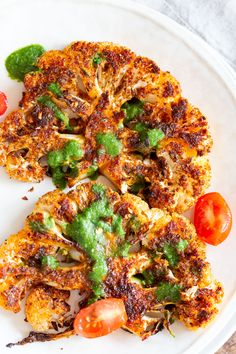 """Cajun Roasted Cauliflower """"Steaks"""" with Chimichurri Sauce - .- Cajun Roasted Cauliflower """"Steaks"""" with Chimichurri Sauce – Vegan Richa Roasted Cauliflower Steaks, Spicy Cauliflower, Cauliflower Recipes, Best Cauliflower Steak Recipe, Roasted Califlower, Vegetarian Recipes, Cooking Recipes, Healthy Recipes, Breakfast"""