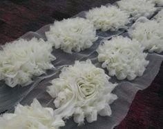 "1 yard Gray glitter ruffle 3/"" shabby chiffon rose trim flowers DIY"