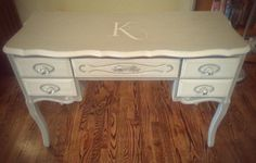 After - Vintage look to the photo and this one shows the colors a little more true Vintage Furniture, Painted Furniture, Monogram Painting, French Provincial, Console Table, Chalk Paint, French Vintage, Office Desk, Corner Desk