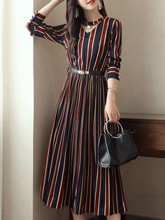 ded6d7870 Plus Size Choker Neck Women A-line Party Long Sleeve Striped Dress. Vestido  EleganteVestidos De Moda ...