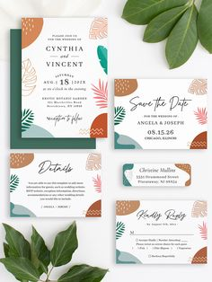 """Check out this unique """"Abstract Tropical Shapes Wedding Invitation Suite"""", with bold modern abstract shapes and simple tropical palm leaves in neutral colors. It will really add the wow factor to your big day this summer! Summer Wedding Invitations, Wedding Invitation Design, Custom Invitations, Table Cards, Abstract Shapes, Wow Products, Wedding Themes, Botanical Gardens, Neutral Colors"""