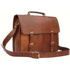 Handmade15 inch Twin Pocket Leather Messenger Bag / Satchel / Laptop... (345 BRL) ❤ liked on Polyvore featuring bags, messenger bags, accessories, purses, bolsas, sacs, leather satchel handbags, satchel handbags, brown leather satchel and brown leather messenger bag