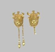 Earrings (Bull Heads), 5th-4th Centuries B.C.  Gold: hammering, brazing, stamping