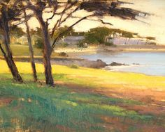 Spring Colors, Pacific Grove by Brian Blood Oil ~ 11 x 14 Spring Colors, Painting Inspiration, Blood, Artsy, Sky, Trees, California, Paintings, Beautiful