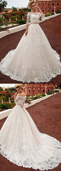 Gorgeous Tulle & Organza Off-the-shoulder Neckline A-line Wedding Dress With