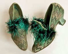 Art Deco Shoes  Ostrich Feather Trim  High Vamp  by Butterflysue